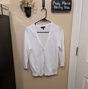 The Limited 3/4 Sleeve White Cardigan Button Up